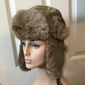 NORKO RABBIT FUR GREEN RUSSIAN TRAPPER HAT CAP